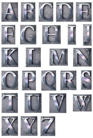 letras cromadas: Representación 3D de un alfabeto en el texto mecanografiado de impresión metálicas de los casos de letras (mayúsculas)