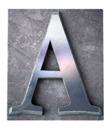 metallic letters:  3D rendering an upper case A  letter in metallic typescript print (part of a matching alphabet)
