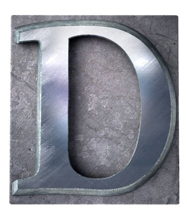 3D rendering an upper case D   letter in metallic typescript print (part of a matching alphabet)  Stock Photo - 13767903