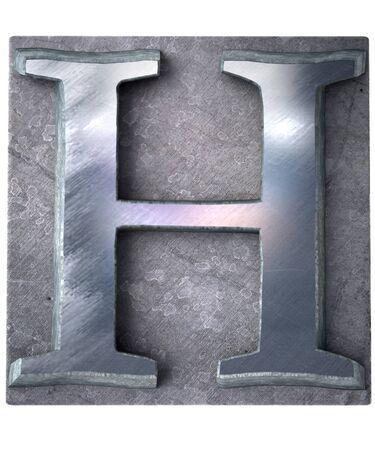 lithograph:  3D rendering an upper case H   letter in metallic typescript print (part of a matching alphabet)