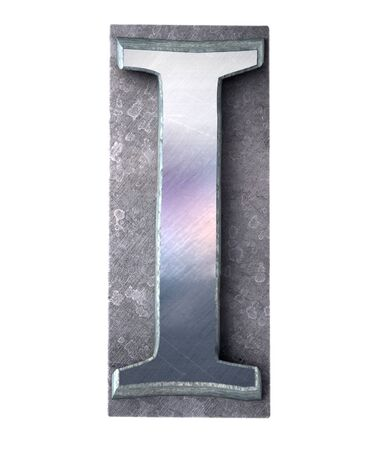 metallic letters:  3D rendering an upper case I   letter in metallic typescript print (part of a matching alphabet)