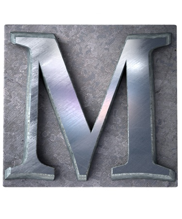 3D rendering an upper case M   letter in metallic typescript print (part of a matching alphabet)  photo