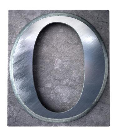 typescript:  3D rendering an upper case O   letter in metallic typescript print (part of a matching alphabet)  Stock Photo