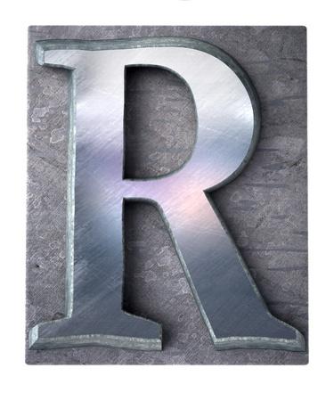 metallic letters:  3D rendering an upper case R   letter in metallic typescript print (part of a matching alphabet)