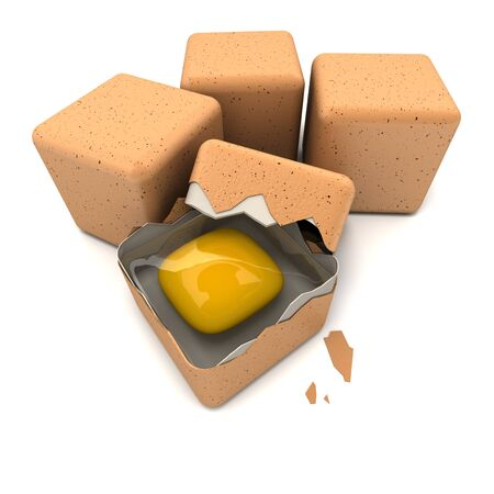3D rendering of cubic shaped eggs and a broken one  Stock Photo - 13767954