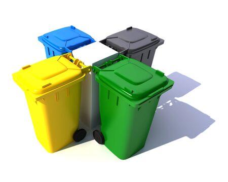 3D-rendering van vier vuilnisbakken in verschillende kleuren in een gecentreerde opstelling