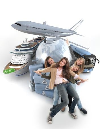 agencia de viajes: Un grupo de ni�as felices en una ronda de lujo del viaje por el mundo con el contexto de crucero