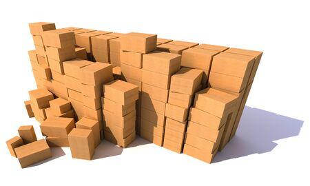 stockpiling: montones de cajas de cart�n sobre un fondo blanco