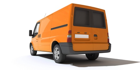 transporter:   3D rendering of a orange transportation van with no brand name (rear view)   Stock Photo