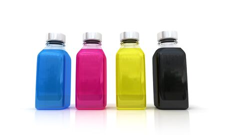Three bottles with the basic printing colors red, green and blue  photo