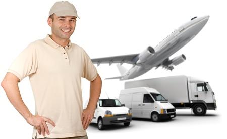 messenger: Smiling messenger against a transportation fleet