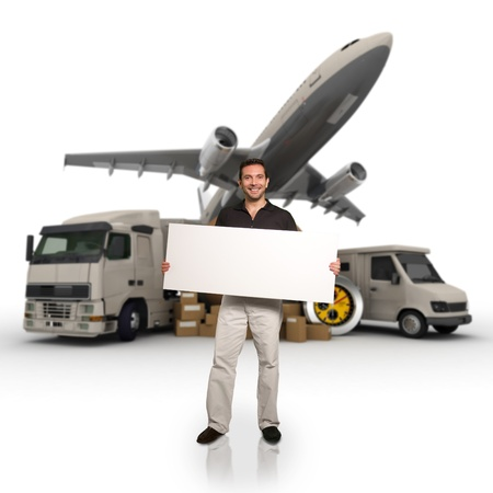 air freight:  A man holding a blank message board with piles of packages, truck, chronometer,  van and airplane on the background