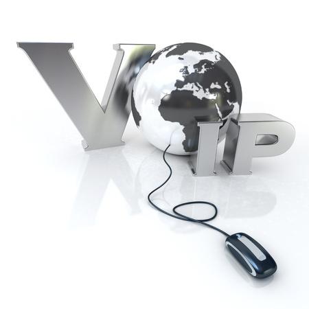 Representación 3D de la palabra de VOIP y de la Tierra conectado a un ratón de ordenador