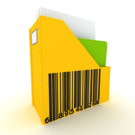 3D rendering of a folder with a  barcode on it  photo