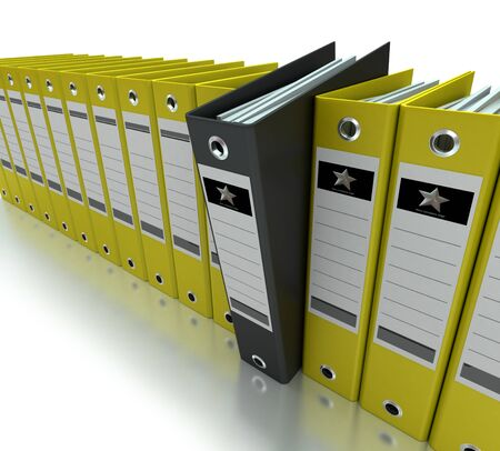 ledger: Yellow and black ring binders