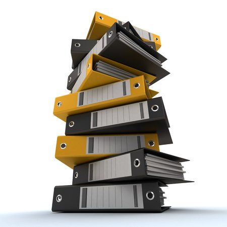 filing documents: 3D rendering of a pile of office ring binders