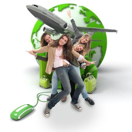 agencia de viajes: Un grupo de niñas felices en un viaje para un grupo en línea organizada