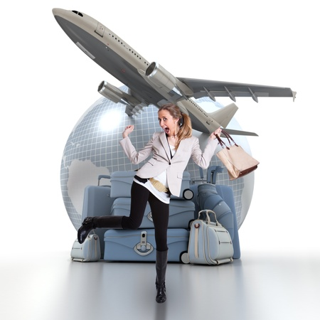 exultant: Young woman celebrating her trip, with a pile of luggage, an Earth and a plane taking off in the background