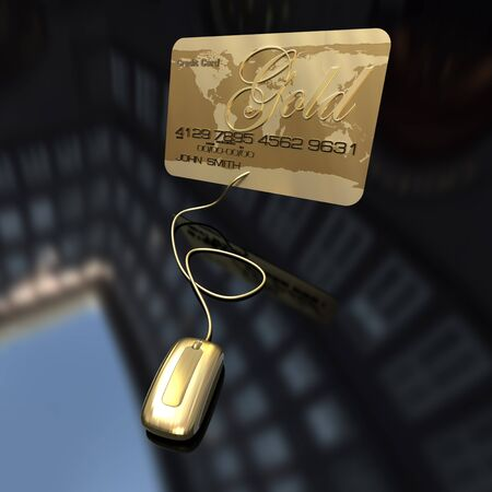 A gold credit card connected to a golden computer mouse on a black background  photo