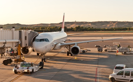 fueling: Airport scene with at Barajas, Spain