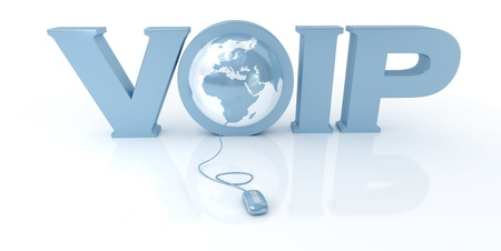3D rendering of the word VOIP and the Earth connected to a computer mouse  photo
