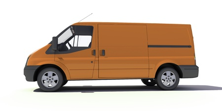3D rendering of a brown transportation van with no brand name   photo