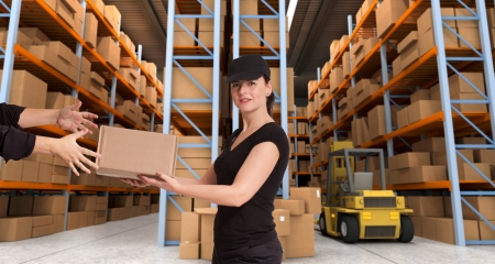Female courier carrying a parcel in a distribution warehouse Stock Photo - 14056914