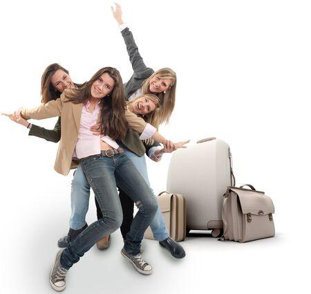 femme avec valise: Un groupe de filles heureuses c�l�brer un voyage de vacances