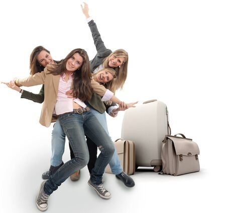 agencia de viajes: Un grupo de niñas felices celebrando un viaje de vacaciones