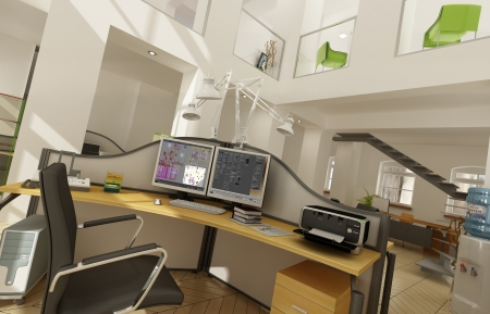company premises: Rendering of a beautiful office interior