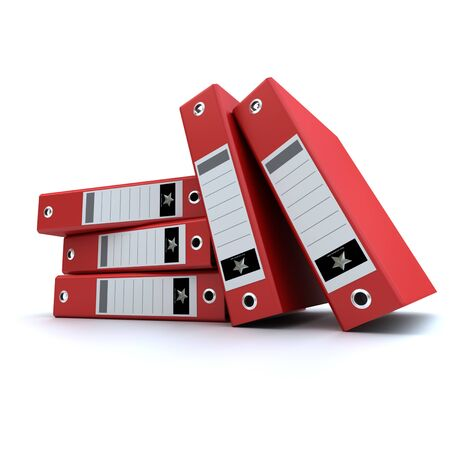 3D-rendering of a group of red ring binders Stock Photo - 14041584