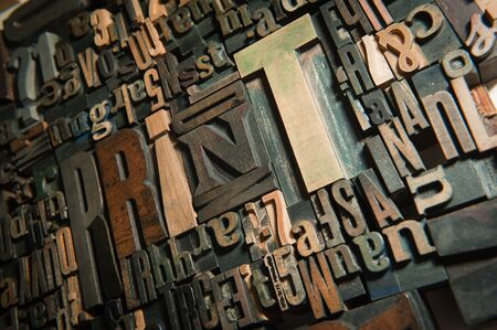 Background of vintage wooden letter cases with the word print  photo