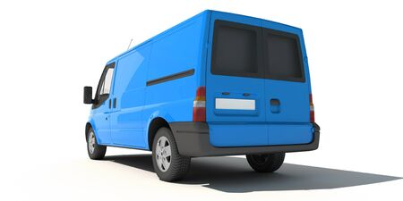 delivery van:   3D rendering of a blue transportation van with no brand name (rear view)