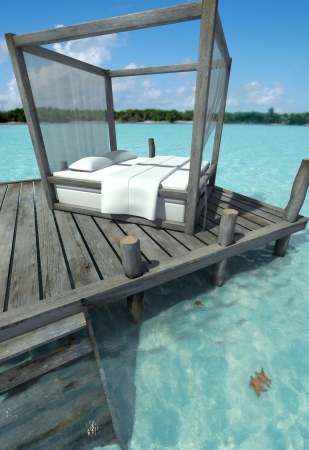 Canopy bed on a pier on a Caribbean landscape Stock Photo - 14044133
