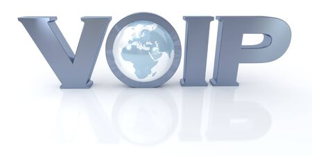 3D rendering of the word VOIP and the Earth in metal and blue  photo