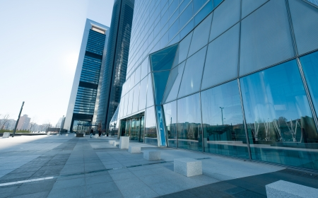 office building exterior: Modern high rise buildings on a clear day