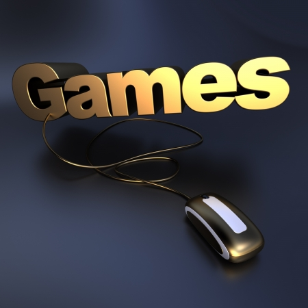 3D illustration of the word games in gold connected to a computer mouse  illustration