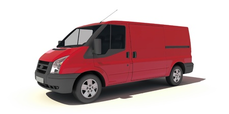 commercial vehicles:   3D rendering of a red transportation van with no brand name   Stock Photo