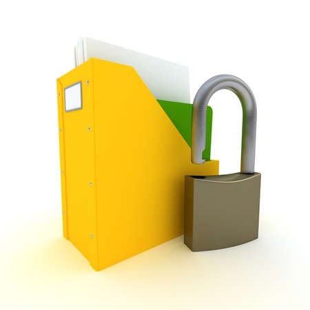 3D rendering of a folder with documents and a padlock  photo