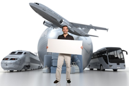3D rendering of a man holding a blank signboard with a world globe, an airplane, a train, and a coach bus with a pile of luggage on the background photo