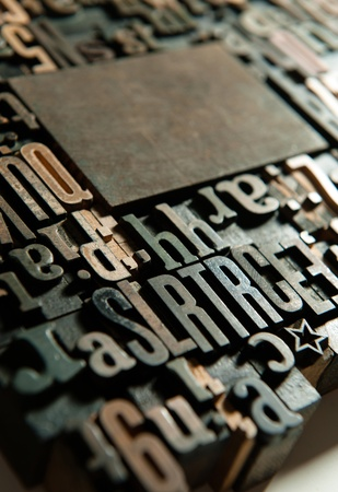 printing industry:  Background of vintage wooden print letter cases   Stock Photo