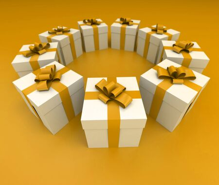 lateral view: Lateral view of a circle of white gift boxes with yellow ribbons and background, 3D rendering