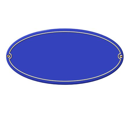 brass plate:  3D rendering of a blue and gold plaque