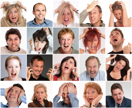 Collections of portraits of different people with furious, angry, shocked expressions photo