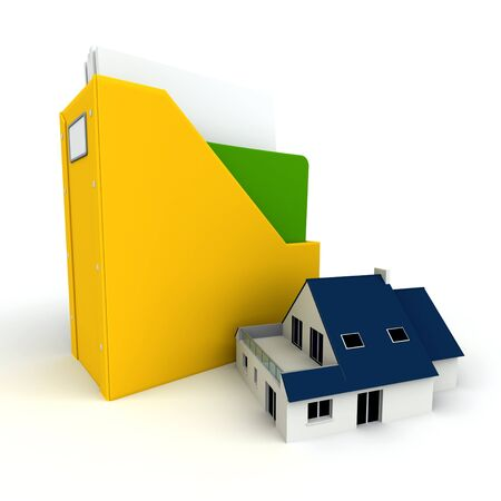 3D rendering of a folder with documents and a house  photo