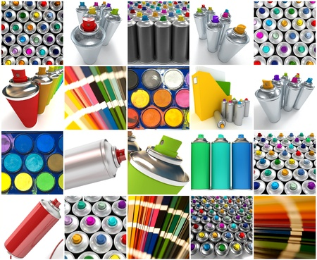 chromatic colour: Collection of images with spray paints, watercolors and color swatches Stock Photo