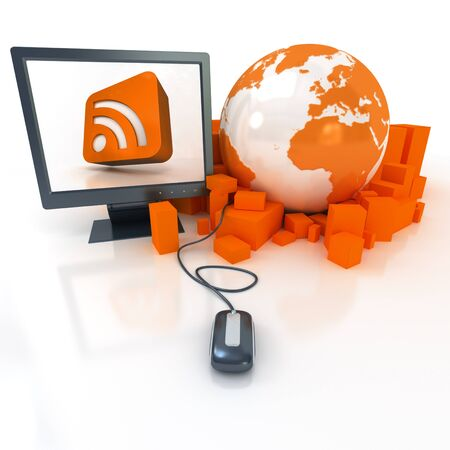 syndication:  3D rendering a world map surrounded by packages connected to a computer showing in the screen the RSS symbol