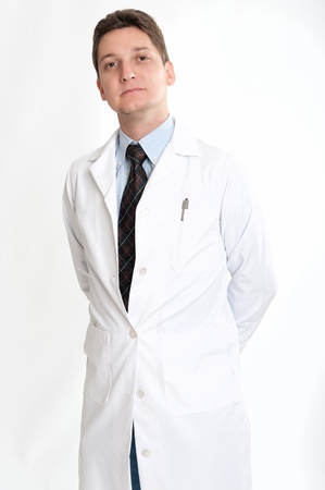 scientists:  Serious man on his thirties on lab coat and tie  Stock Photo