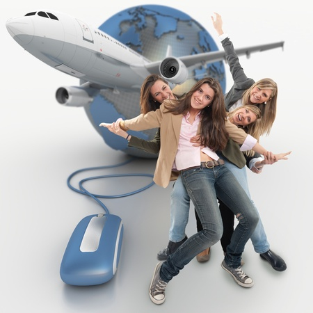 organized group: A group of happy girls on a online organized group holiday Stock Photo