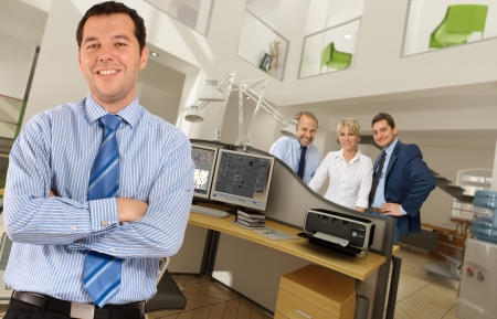 company premises: People in a modern beautiful office